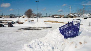 commercial snow plow parking lot