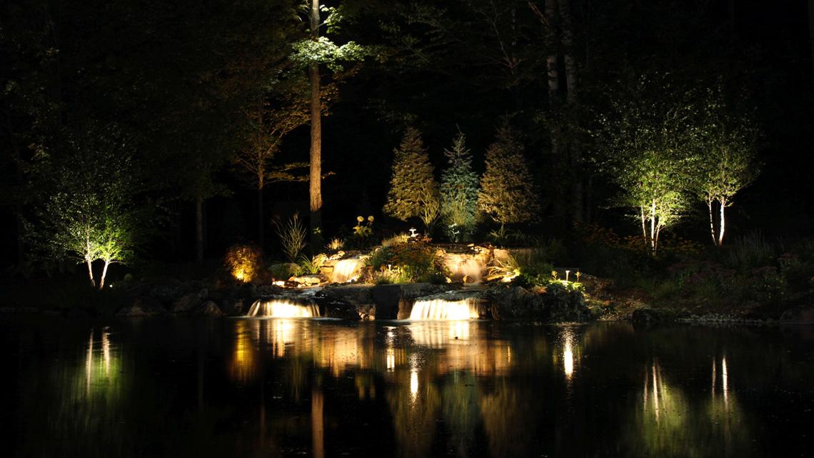 Waterfall night lighting